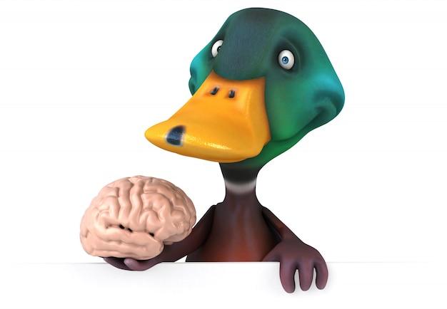 Zabawna ilustrowana kaczka trzymająca mózg