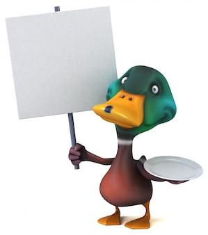 Zabawna ilustrowana kaczka trzymająca pusty plakat i pusty talerz