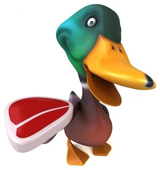 Zabawna ilustrowana kaczka trzymająca stek