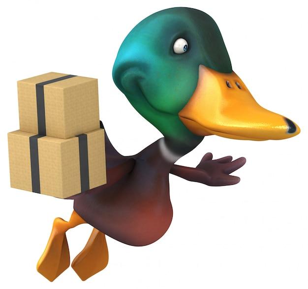 Zabawna ilustrowana kaczka trzymająca stos pudeł