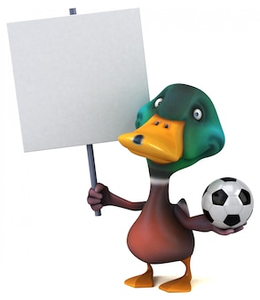 Zabawna ilustrowana kaczka trzymająca tabliczkę i piłkę