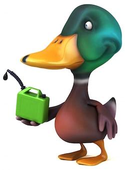 Zabawna ilustrowana kaczka trzymająca zbiornik gazu