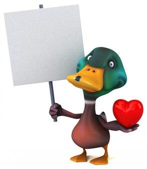 Zabawna ilustrowana kaczka z tabliczką i sercem