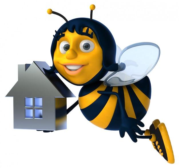 Zabawna ilustrowana pszczoła trzymająca kształt domu