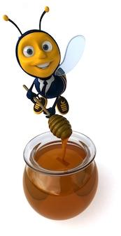 Zabawna ilustrowana pszczoła w garniturze robi miód