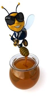 Zabawna ilustrowana pszczoła w garniturze z okularami przeciwsłonecznymi wytwarzającymi miód