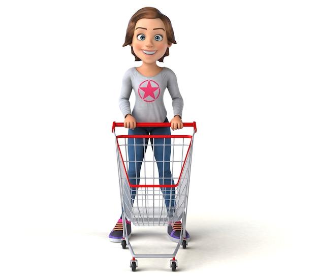 Zabawna kreskówka 3d nastolatka na zakupy