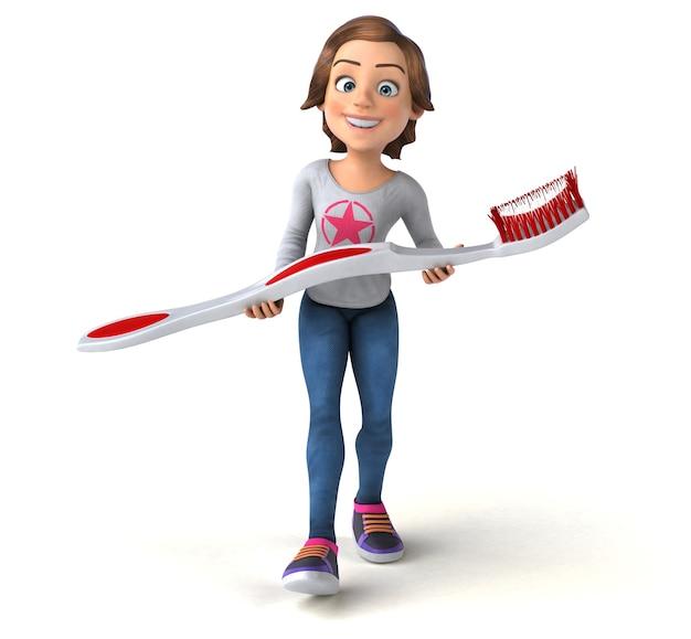 Zabawna kreskówka 3d nastolatka ze szczoteczką do zębów