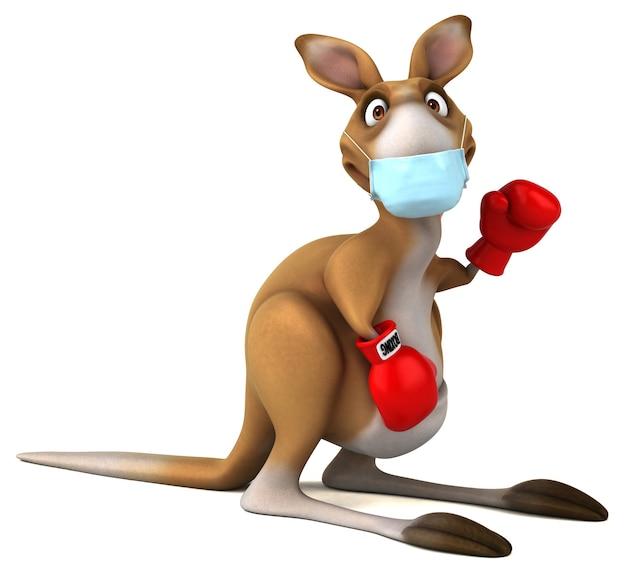 Zabawna kreskówka kangur z maską