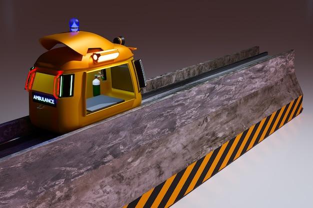 Zabawna maszyna awaryjna na przegrodach drogowych do renderowania ilustracji 3d w ruchu ulicznym
