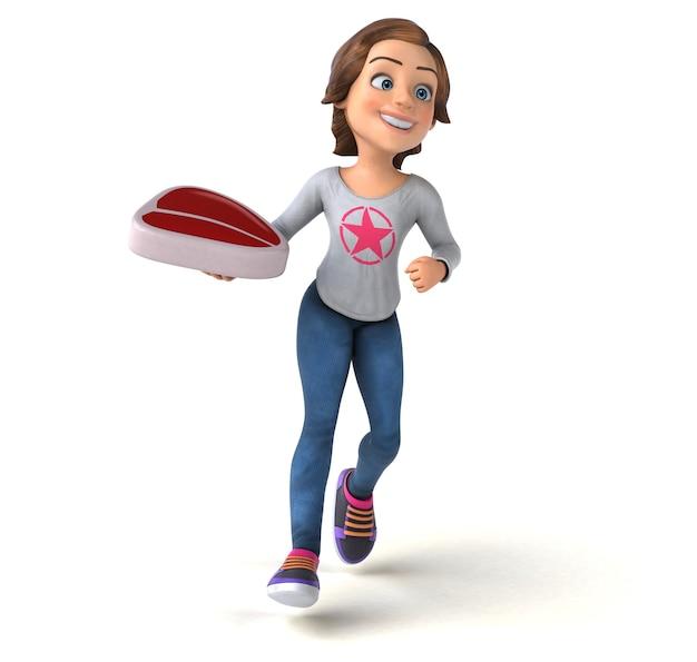 Zabawna postać 3d nastoletniej dziewczyny z kreskówek