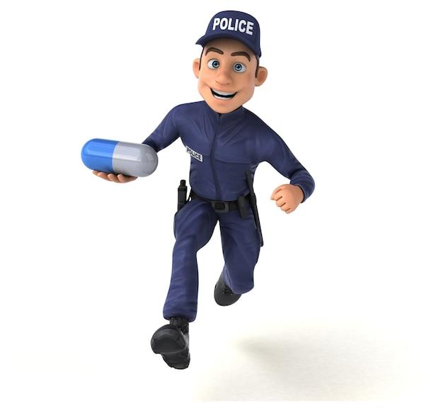 Zabawna postać 3d z kreskówki policjanta