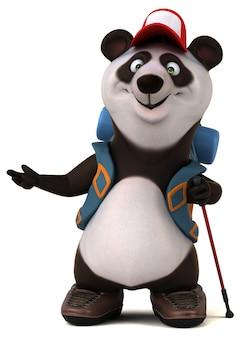 Zabawna postać z kreskówki 3d panda backpacker