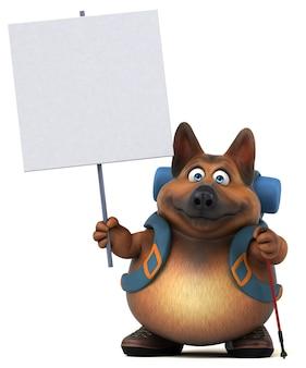 Zabawna postać z kreskówki owczarek niemiecki z plecakiem