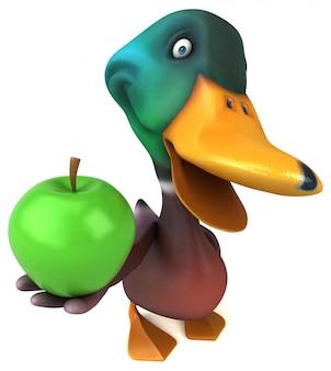 Zabawna śmieszna ilustrowana kaczka trzyma jabłka