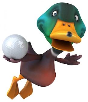 Zabawna śmieszna ilustrowana kaczka trzyma piłkę golfową