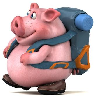 Zabawna świnia z plecakiem