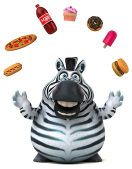 Zabawna zebra - ilustracja 3d