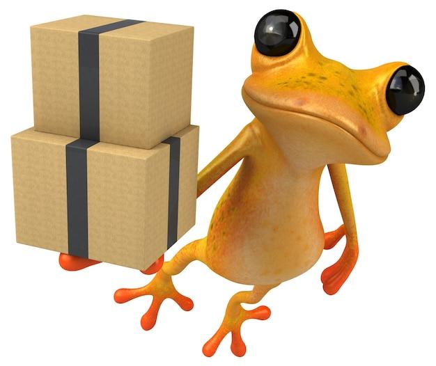 Zabawna żółta żaba - ilustracja 3d