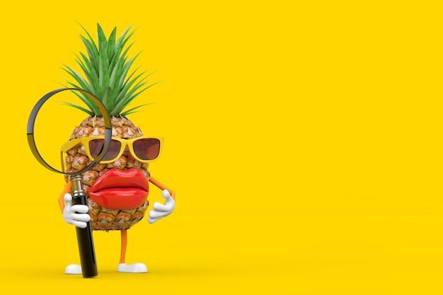 Zabawne kreskówki moda hipster cut ananas osoba charakter maskotka z lupą na żółtym tle. renderowanie 3d