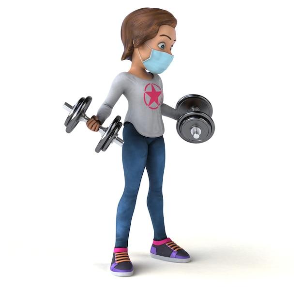 Zabawne renderowanie 3d z kreskówkową nastolatką z maską