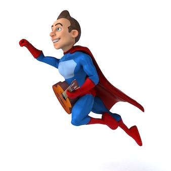 Zabawne renderowanie 3d zabawnego superbohatera