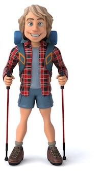 Zabawny backpacker z animacją laski