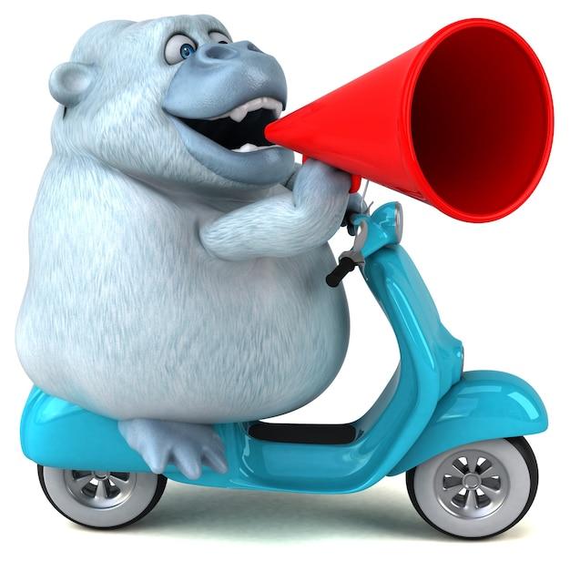 Zabawny biały goryl - ilustracja 3d