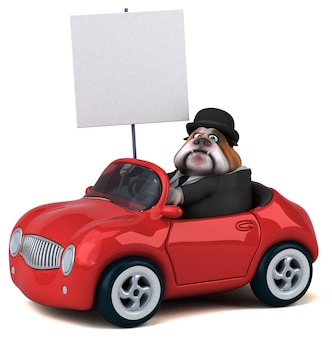 Zabawny buldog - postać 3d