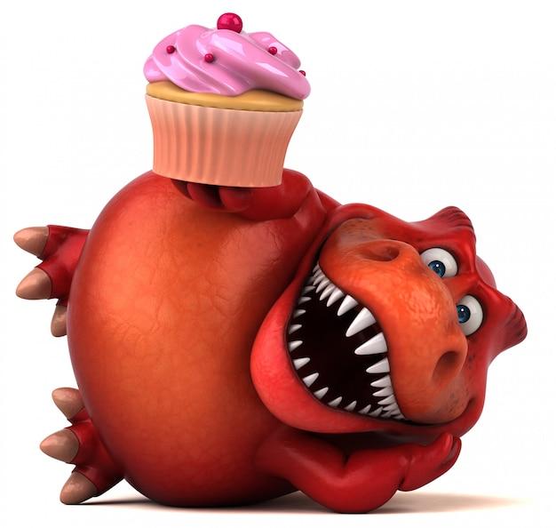 Zabawny charakter 3d czerwony dinozaur trzyma kubek ciasta