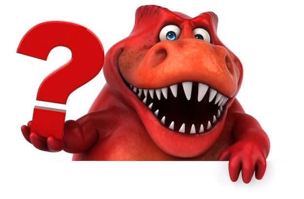 Zabawny charakter 3d czerwony dinozaur trzyma znak zapytania
