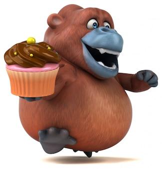 Zabawny charakter 3d goryl trzyma ciasto cup