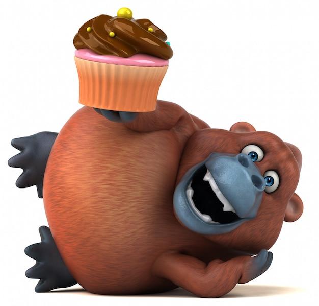 Zabawny charakter 3d goryl trzyma kubek ciasto siedzi