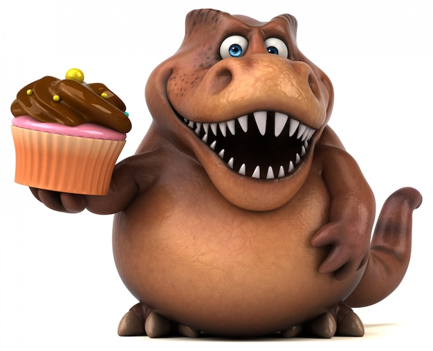 Zabawny charakter 3d gruby dinozaur trzyma kubek ciasta