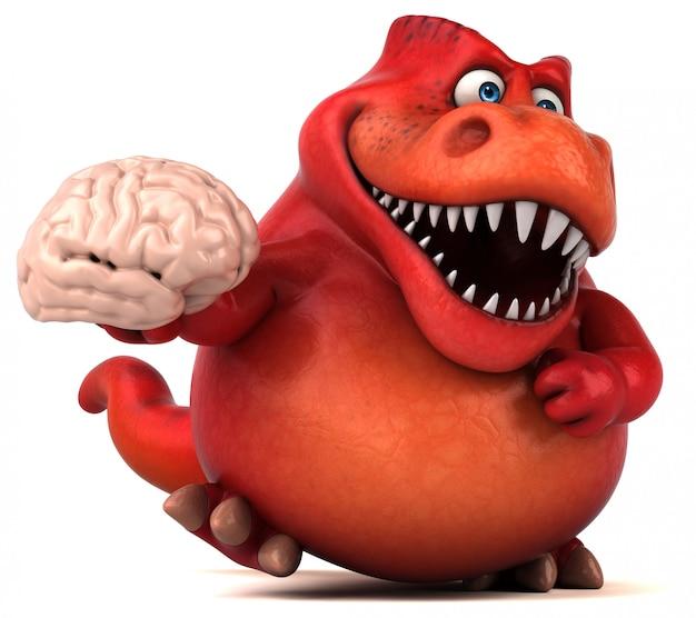 Zabawny charakter dinozaura 3d trzyma mózg