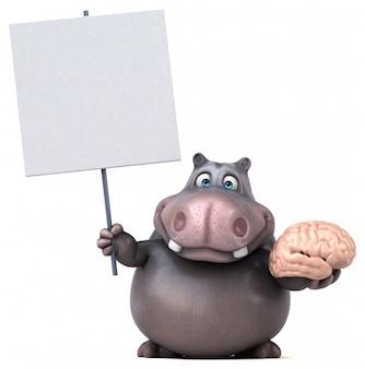 Zabawny charakter hipopotama 3d gospodarstwa afisz i mózg