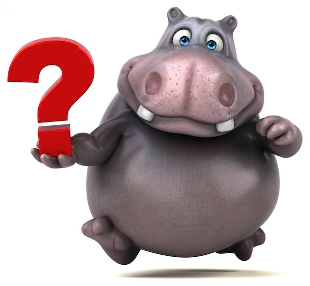 Zabawny charakter hipopotama 3d posiadający znak zapytania