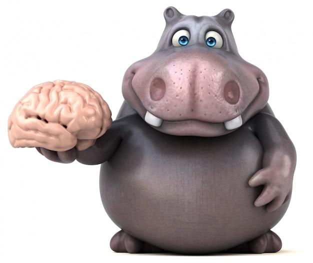 Zabawny charakter hipopotama 3d trzyma mózg