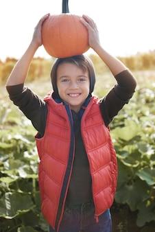 Zabawny chłopiec trzyma dyni w polu