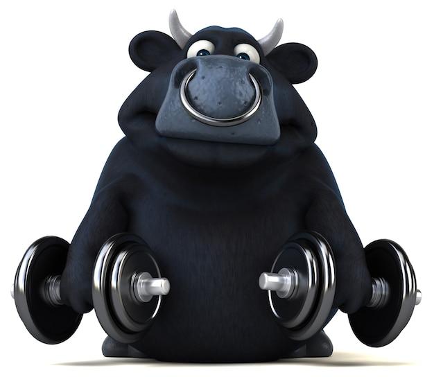 Zabawny czarny byk - ilustracja 3d