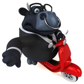Zabawny czarny byk - postać 3d