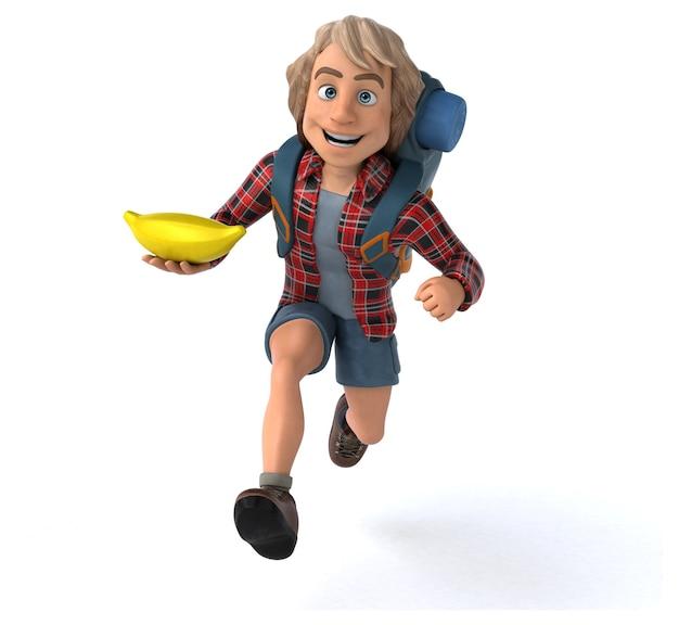 Zabawny facet kreskówka z plecakiem