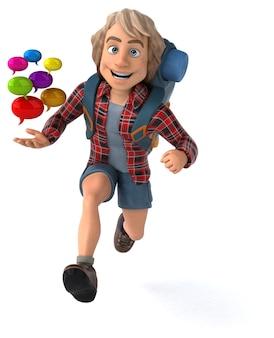 Zabawny facet z kreskówek z plecakiem