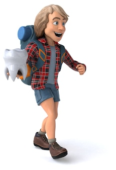 Zabawny facet z kreskówki z plecakiem