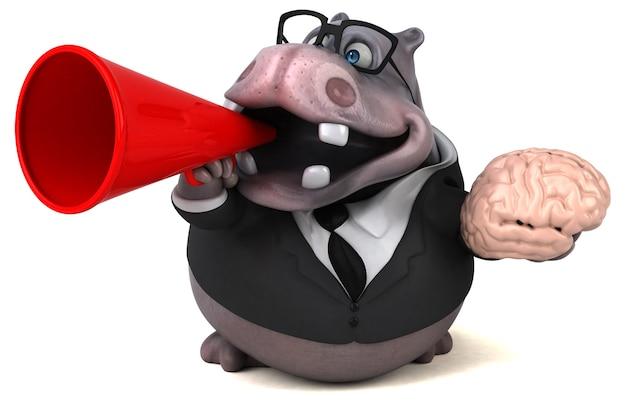 Zabawny hipopotam - ilustracja 3d