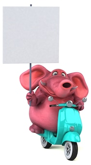 Zabawny ilustrowany różowy słoń 3d trzymający tabliczkę na hulajnodze