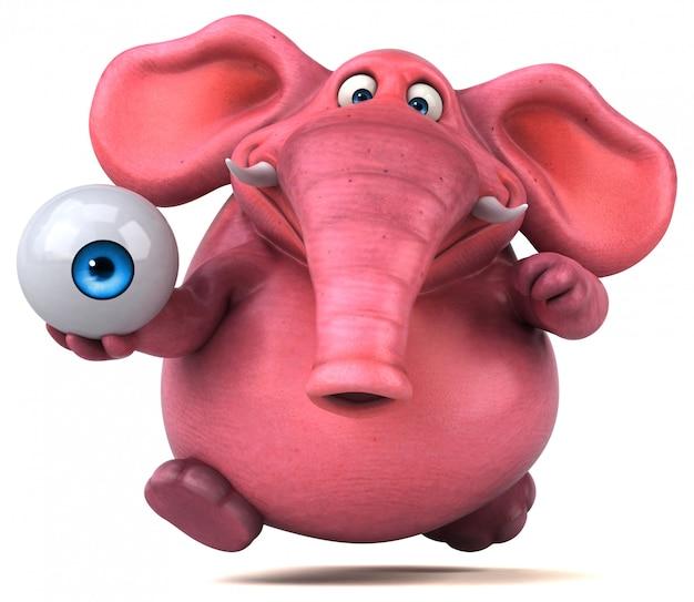 Zabawny ilustrowany różowy słoń trzymający gałkę oczną