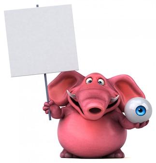 Zabawny ilustrowany różowy słoń trzymający tabliczkę i gałkę oczną