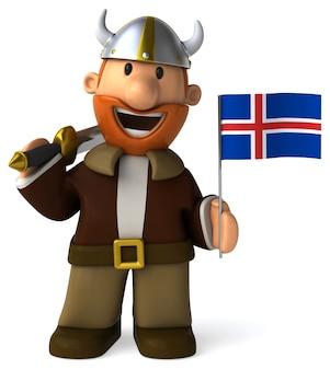 Zabawny ilustrowany wiking trzymający flagę