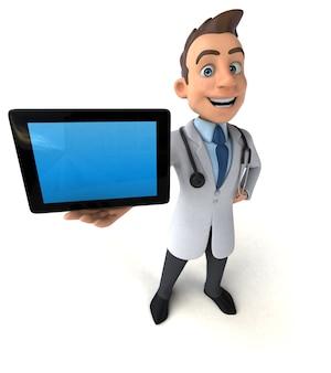 Zabawny lekarz trzymając tabletkę